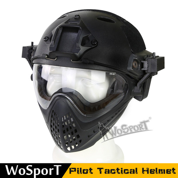 best selling WoSporT 2017 New outdoor tool Tactical Helmet with Mask for Airsoft Paintball CS WarGame outdoor tactical equipment