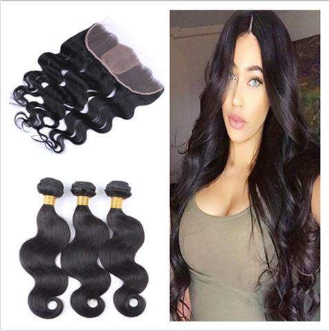 Silk Base 13x4 Lace Frontal With Body Wave 3Bundles 4Pcs Lot Virgin Malaysian Body Wave Human Hair Weaves With Silk Frontal Closure