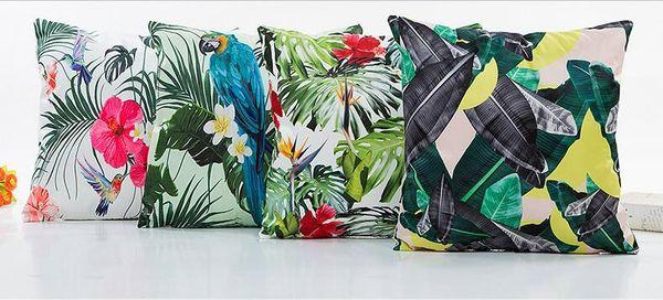 Hawaii Tropical Floral Printed Zipper Pillowcase Square Simulation Silk  Digital Printing Pillow Case New Arrivel Cushion Cover Contour Neck Pillow