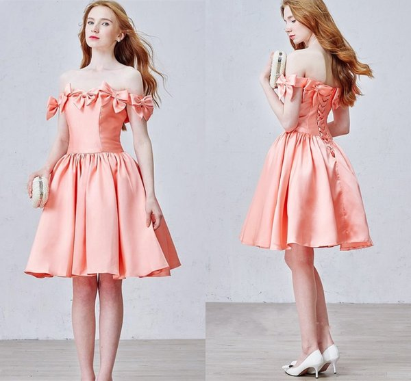 2016 Peach Short Prom Party Dresses A Line Knee Length Back Lace up Bow Cute homecoming Gowns Vestidos de Fiesta