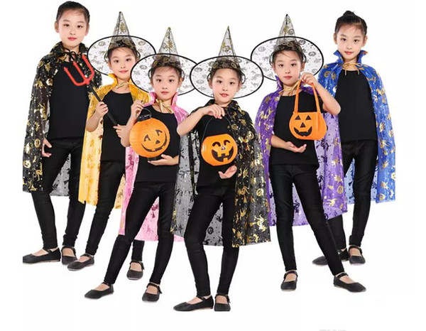 Halloween Cloak Cap Party Cosplay Prop for Festival Fancy Dress Children Costumes Witch Wizard Gown Robe and Hats Costume Cape Kids