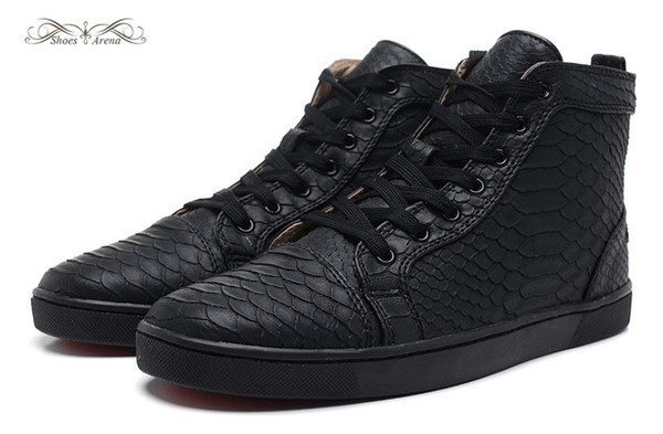 68217b21e7b Size 36 46 Men & Women Black Snake Leather High Top Red Bottom Fashion  Sneakers, Unisex Luxury Brand Flats, Comfortable Lace Up Casual Shoes Mens  Boat ...