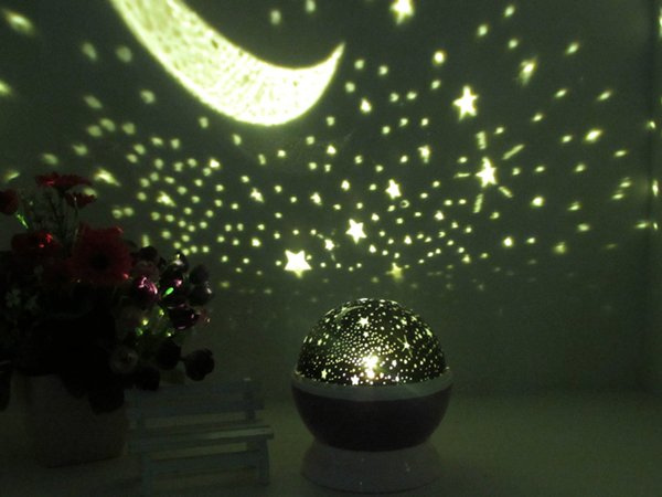 New 4LED 360 Degree Romantic Night Lamp Projection, Cosmos Star Sky Moon Lamp Projector for Kids Baby Bedroom USB Cable , Christmas Gifts