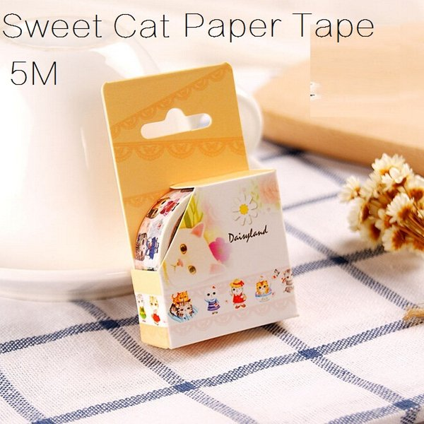 5m/Sweet Cat series DIY Masking paper Adhesive tape set/writting memo Sticky/scrapbooking tools/office school supplies/Wholesale