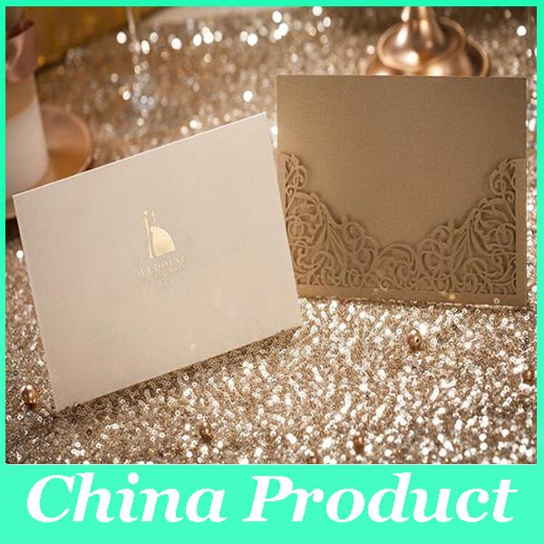 Vintage Wedding Invitation Sets of Laser Cut Wedding Party Invitations Cards (1 Card +1 Ineer sheet +1 Envelope+1 seal) Customizable