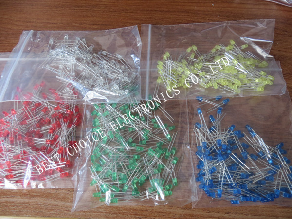 top popular Wholesale-500Pcs lot 3MM LED Diode Kit Mixed Color Red Green Yellow Blue White 2020