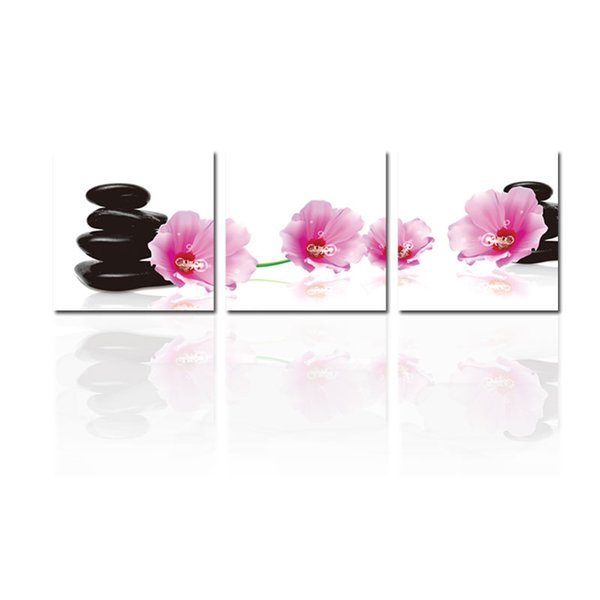 3 Pieces Paintings Wall Art Moist Spa Stone Tower and Pink Flower Picture Print on Canvas for Modern Home Decoration