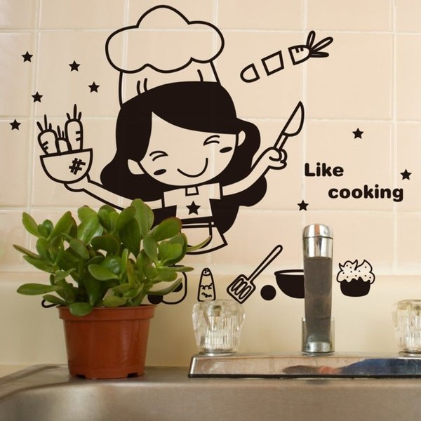 Happy Kitchen Girl Like Cooking Wall Sticker Cute Wall Art Home Decal Decor  Kitchen Tile Wall Stickers Mural Wallpaper Walls Decals Walls Stickers ...
