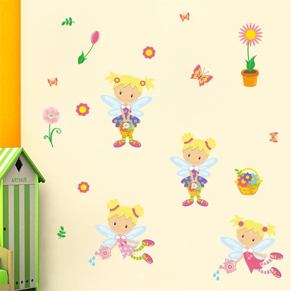 Cartoon Sun flower fairy elf girl DIY Generic Decal Wall Sticker Kids Room Decor Mural living room vinyl Inspiration 5pc