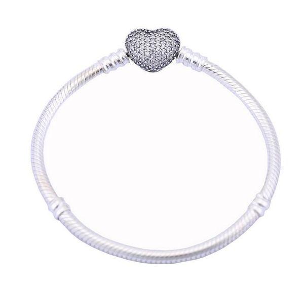 Мода стерлингового серебра женщин кубического циркония проложили сердце змея цепи браслет с логотипом 925 серебро регулируемые Шарм браслеты ювелирные изделия