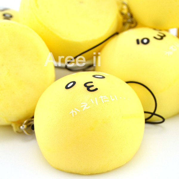 Wholesale-30PCS 4 CM Mini Yumuşacık Japon Karakter İfade Beyaz / Sarı Topuz Ekmek Kokulu Telefonu Sapanlar