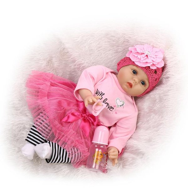 "22"" So Truly Real Pink Dress Blue Eyes Soft Sillicone Vinyl Baby Born Girl Dolls for Girls Play Doll Toy Birthday Gift"