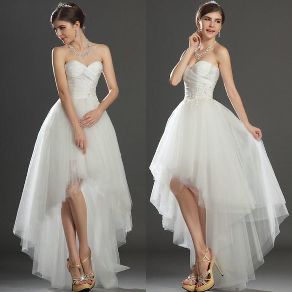 Discount Adorable Sweetheart Neckline High Low Wedding Dresses ...