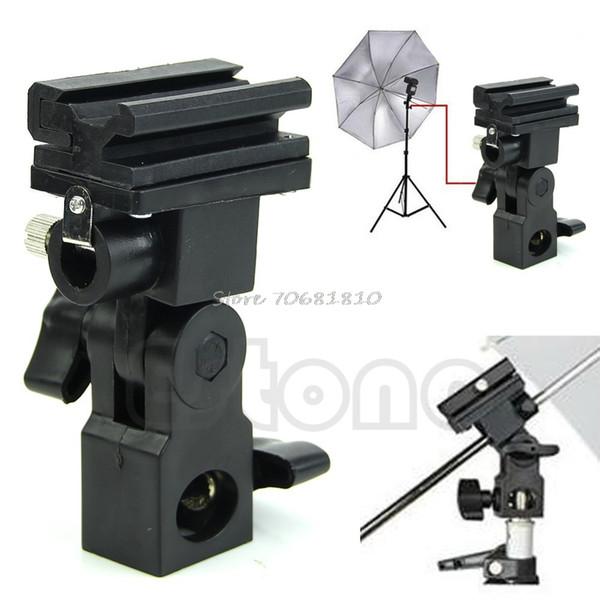 Wholesale- Photo Flash Adapter Hot Shoe Swivel Mount Light Stand Bracket B Umbrella Holder #R179T#Drop Shipping