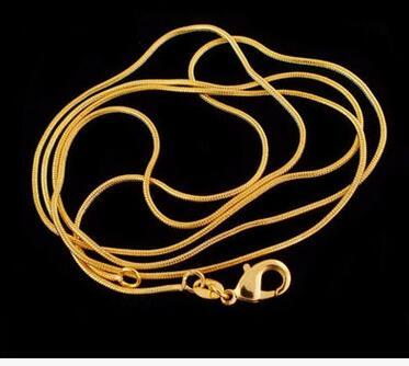 big discount jelwery accessories 1mm 18K gold plated snake chain pendant necklace bone necklace 16-30 inch hot sale free shipping