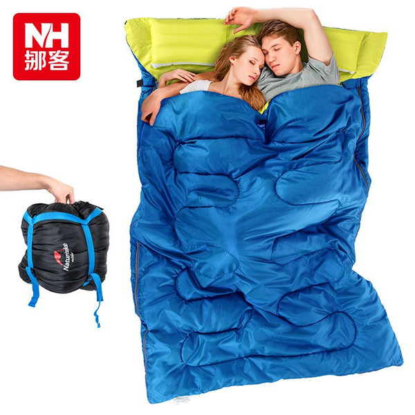 NH couple double sleeping bag with pillows outdoor camping indoor lunch break portable Adult lover warm for four seasons