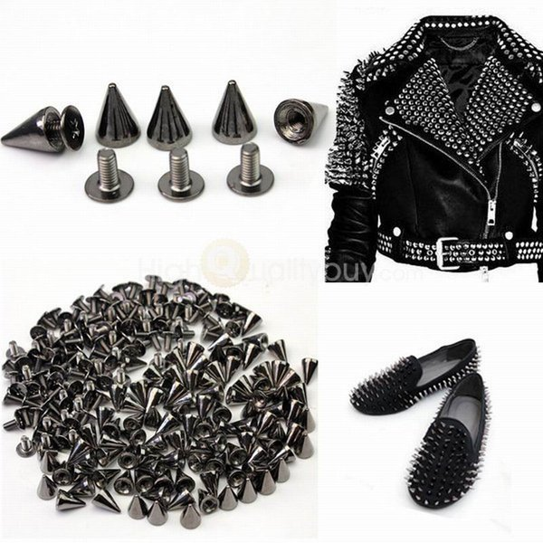 Metal Cone Screwback Spikes Stud For Punk Leather Bag Shoes Clothes Metal Spikes For DIY Leather Collar Belt ( 7X10mm )