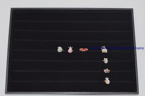 "14"" Jewelry Display Case Ring Holder Tray Cradle In Black Velvet Cufflinks Storage Show Plate Stud Earrings Case MDF"