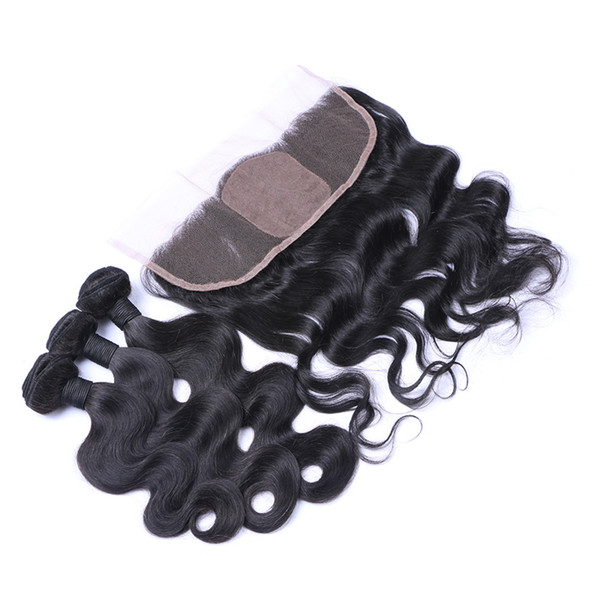 Virgin Brazilian Body Wave Wavy Hair With Silk Base Frontal 4Pcs Lot Brazilian Virgin Hair 3Bundles With 13x4 Silk Top Full Lace Frontals