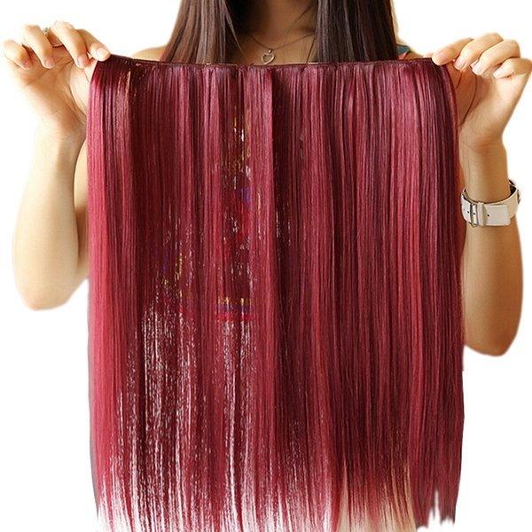 42cm Synthetic Red White Hair Straight Clip In Hair Extensions Cosplay Hairpiece Party Hair for Women