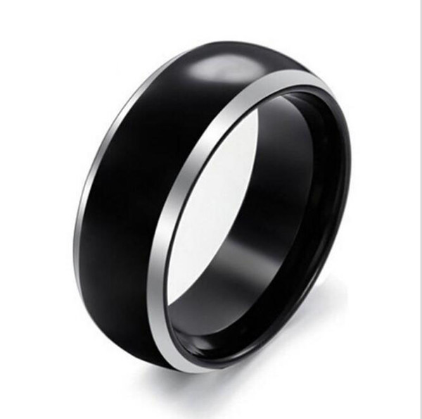 Dad's gift Fashion Jewelry Black Tungsten Carbide Ring domed surface silver edges 8mm wide for men have big sizes in stock Christmas Gift