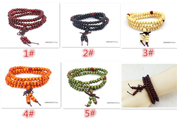 best selling Hot sales 5 designs Women Men jewelry 108*6mm Natural Sandalwood Buddhist Buddha Meditation 108 beads Wood Prayer Bead Mala Bracelet D806