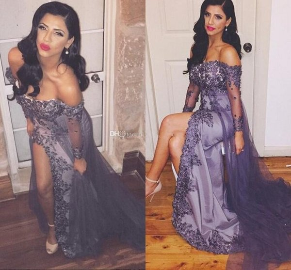 Elegant Women Wrapped Prom Dresses Off The Shoudler Beaded Front Split Sexy Evening Gowns Dubai Arbic Party Gowns With Sleeves