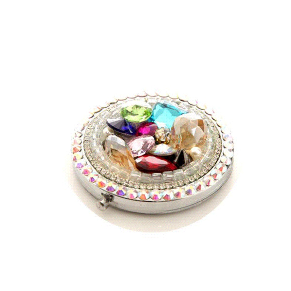 10 Pcs/Lot Colored Gem Make Up Mirror Stainless Steel Frame Double Sided Enlarg Compact Mini Mirror Wholesale