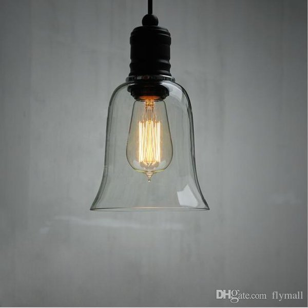 Modern Crystal Bell Glass Shade Pendant Light Retro Industrial DIY Ceiling Lamp Pendant Lamp with Edison Bulb E27 Bar Dining room Loft Lamps