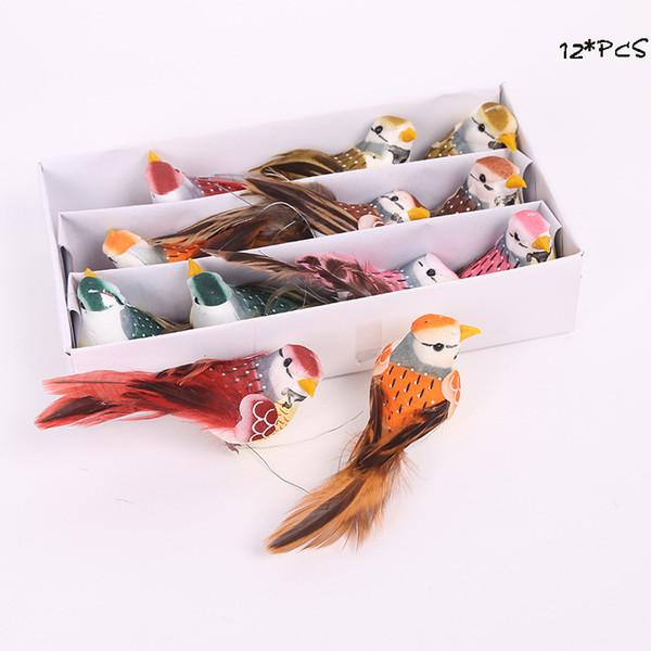 12pcs Multicolor Artificial Foam Birds Colorful Feather Wedding Love Bird DIY Ornaments Home wedding Party Accessories 12*3CM