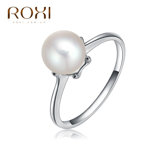 Hot 100% High quality ROXI brand fashion ring women Jewelry White gold Color Color Pearl rings for women engagement gift
