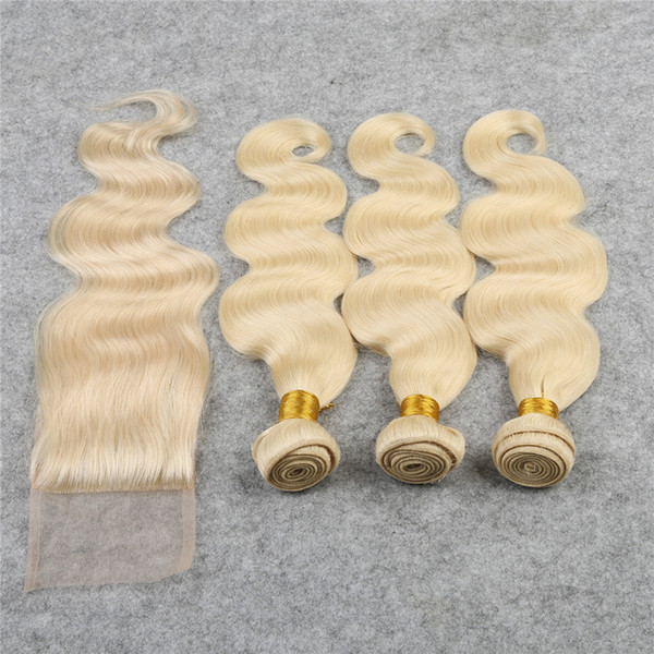 Light blonde 613 Lace Closure With Bundles 4Pcs/Lot Body Wave Hair Bundles with Closure Free Part #613 Virgin Hair Weaves