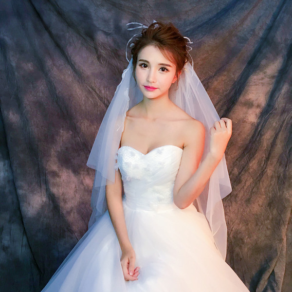 Y-O23 Wholesale Veils High Quality Real photos Purple White Netting Veils for Bridal Tulle with Feather Fast Free shipping out Veils