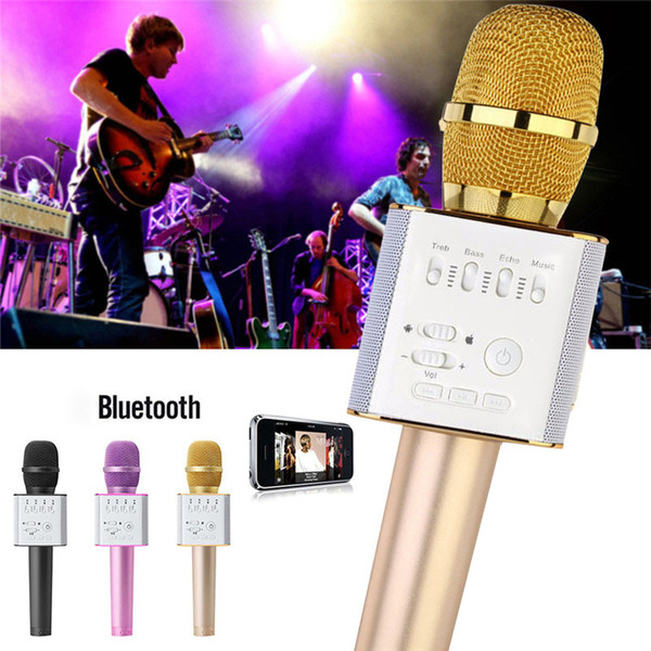 Q9 Bluetooth Wireless Microphone Handheld with Speaker Mic Karaoke Singing Record Player KTV for iPhone 7 Plus Samsung with Package