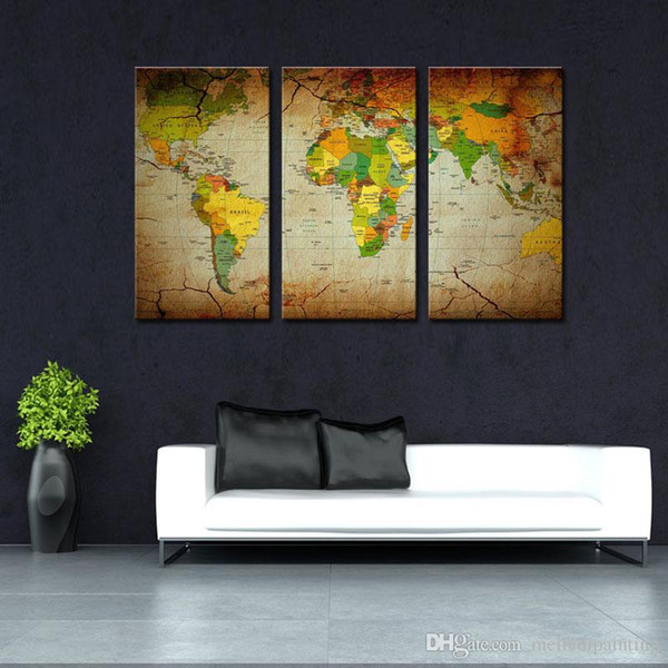 3 pezzo Brown Wall Art Painting Word Map Stampa su tela The Picture Map Immagini Oil For Home Modern Decoration Print Decor