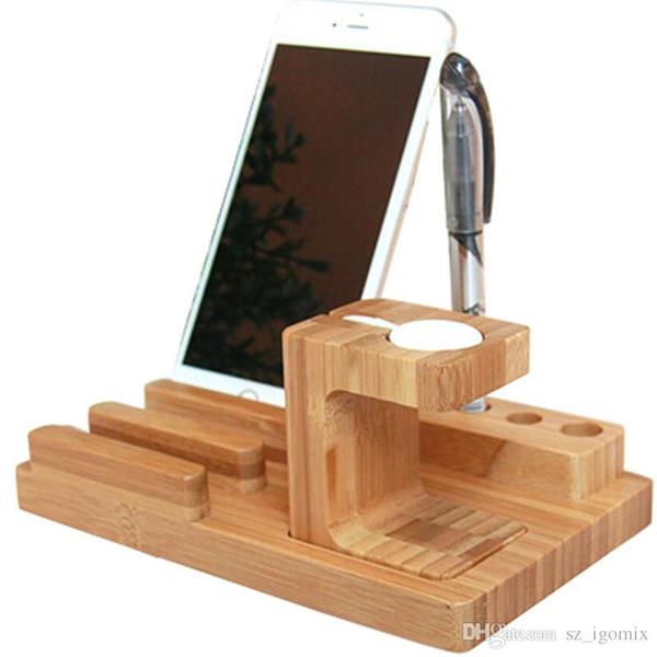 4 in 1 Ladestation WD06-1 Halterung Docking Station Halter für iPhone iPad Apple Watch Bambus Holz