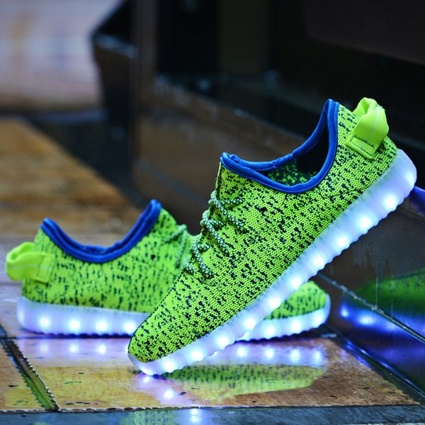 LED Flash Shoes7Color USB charging Boost 350 Sneakers Casual Shoes for Mens  and Womens shoe Footwear