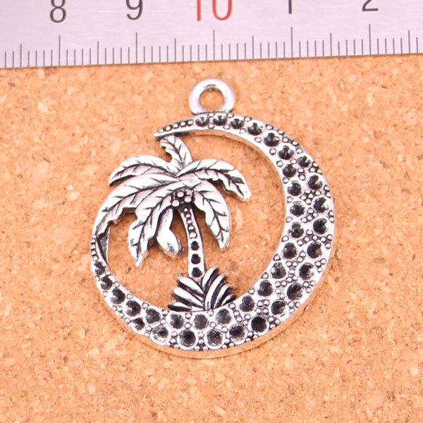 42pcs Antique silver Charms palm tree moon coconut Pendant Fit Bracelets Necklace DIY Metal Jewelry Making 37*30mm