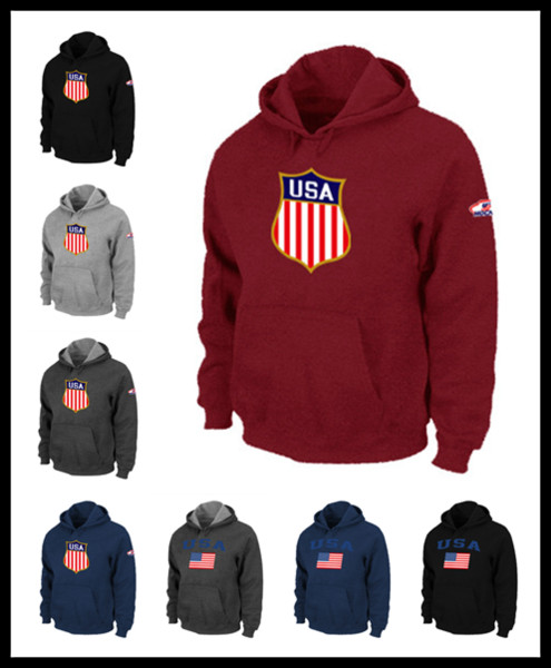 DHL Men USA icehockey sweatshirts national team warm Pullover clothing brown red wine black Mens watching game flag hoodie M-XXXL