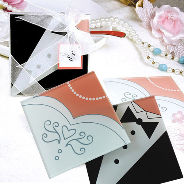 Bride Gown & Groom Tuxedo Creative Square Glass Coasters Cup Mat for Wedding Favors 2pcs/set+DHL Free Shipping