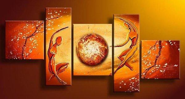 100% dipinto a mano 5 pz / set moderna pittura a olio di paesaggio wall dance art african tree immagini per soggiorno decorazioni casa regalo