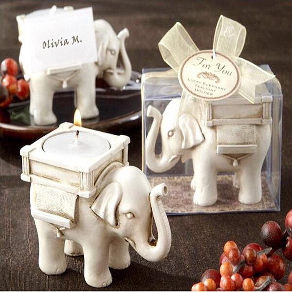 Kreativer Elefant-Kerzenhalter-Harz-Platz-Kartenhalter-Hochzeits-Bevorzugungs-Geschenke, die Tischverzierungen DHL-freies Verschiffen heiraten