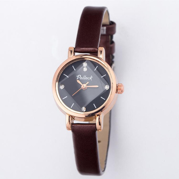 New Ladies Simple Small watches rhombus Dial Leather Bracelet Band Woman Watches Luxury Watch 20 color Shiny Women Gold Wrist Watches