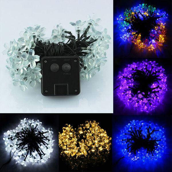 New Solar Power Waterproof 50 LED Lights Peach Blossom Shape Party Decor,christmas led lights outdoors,light string,tree light order<$18no t