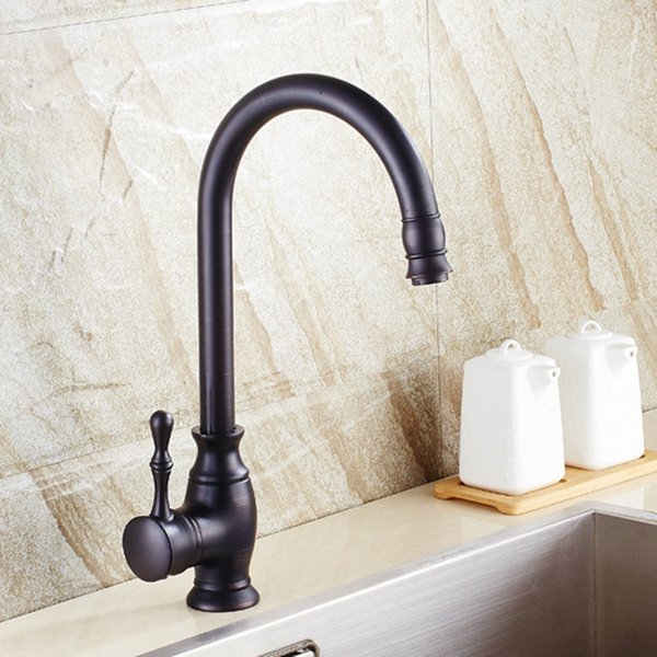 Oil Rubbed Bronze Kitchen Taps Vintage Single Hole Copper Deck Mounted Sink Faucet with Single Handle,Black
