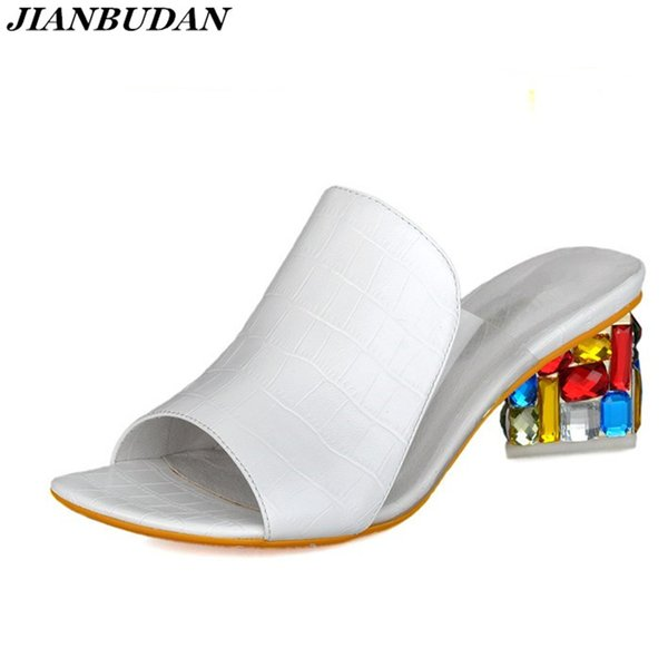Rhinestone Heel Shoes Peep Toe Women's slippers Sexy Open Toe Shoes Wedge Non-slip Women's High Heel slippers Flip Flop Plus 41