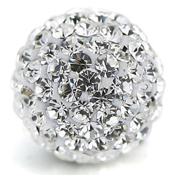 Round Pave Czech Rhinestones Disco Ball Clay Beads fit European crystal Loose Beads for Women Handmade Jewelry making 100pcs White Clear
