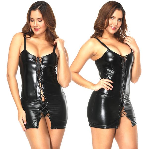 Women Hen Wet Pvc Look Dominatrix Dress Sexy Outfit Spanking Skirt Adult Size M-XXXL 1011