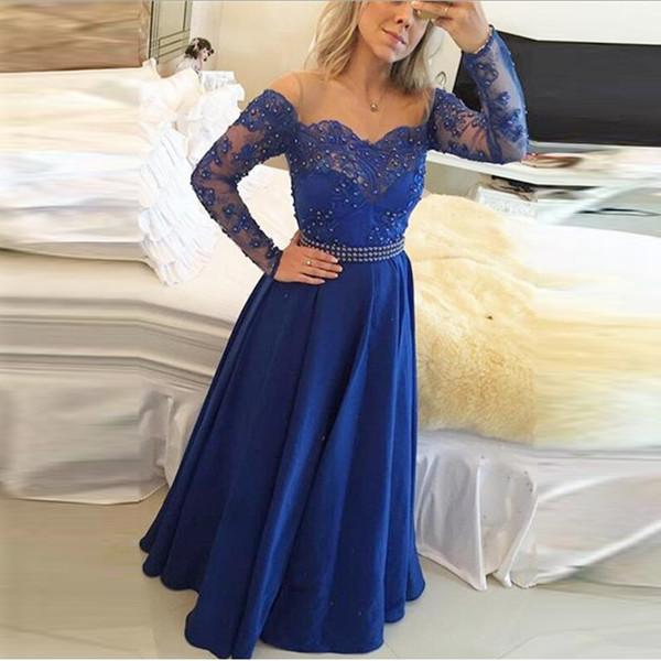 best selling Hot Elegant Royal Blue Evening Dresses Long Sleeve Appliques Lace Evening Gowns Floor Length Prom Dresses