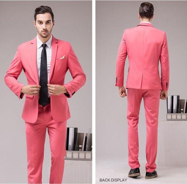 New Arrival Groomsmen Center Vent Slim Fit Groom Tuxedos Notch Lapel Men's Suit 12 Colors Best Man Wedding/Dinner Suits (Jacket+Pants) J871